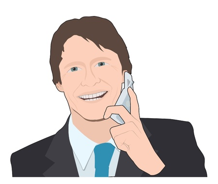 Business man on mobile phone Vector