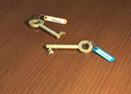 u lock: Keys to government, 2 political party keys on a table
