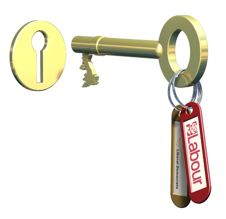 u lock: Keys to government, Labour and Liberal democrats Stock Photo