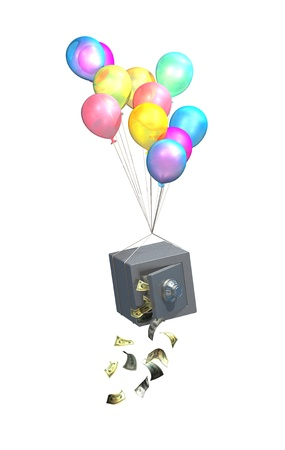 returns: Safe and balloons, savings and pensions disappearing Stock Photo