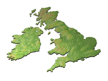 uk: 3D CAD render of contoured version of Great Britain