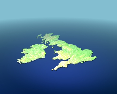 kingdoms: 3D CAD render of contoured version of Great Britain on Blue Stock Photo