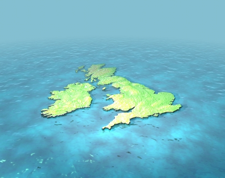 3D CAD render of contoured version of Great Britain on sea photo