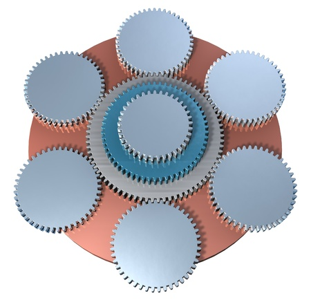 Organization, enterprises structure, teamwork, meshing gears photo
