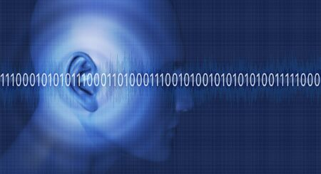 sound wave: Thinking in binary numbers 1 Stock Photo