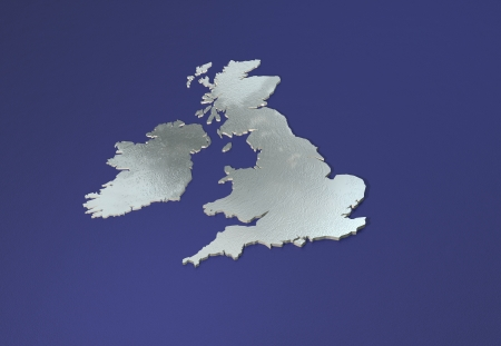 british isles: 3D chrome map of British isles with contours on reflective blue Stock Photo
