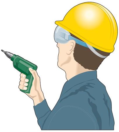 bauarbeiterhelm: Mann mit einer Bohrmaschine und Schutzhelm, Baumeister, DIY