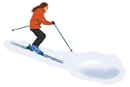 Skier on the piste Stock Vector - 17150290