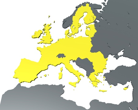 european economic community: A 3D map of EEC on white background  2013
