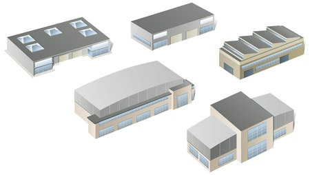 warehouse storage: Vector industrial buildings and factories