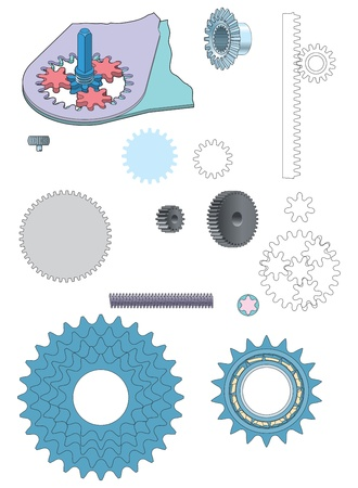 Machine gear wheels cogwheels vector image Stock Vector - 18700219