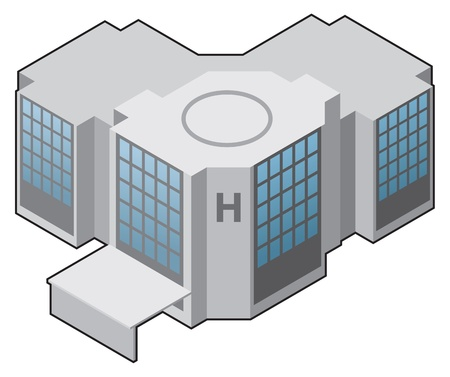 사무실 건물: 병원 아이콘, 의료 아이콘 벡터 일러스트