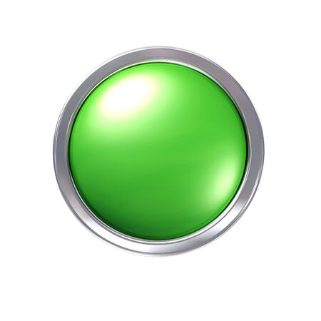 bezel: Glossy green CAD button with chrome bezel Stock Photo