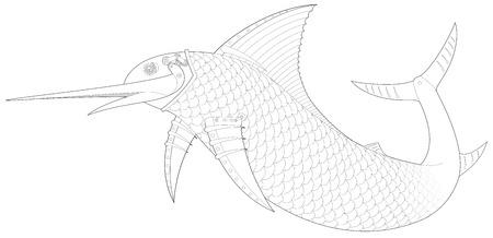 dieselpunk: Steampunk Sailfish mechanical fish 1 vector Illustration