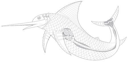 engeneering: Steampunk Sailfish mechanical fish 2 vector