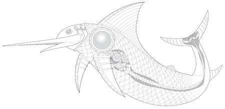 sailfish: Steampunk Sailfish meccanico pesci vettore 3