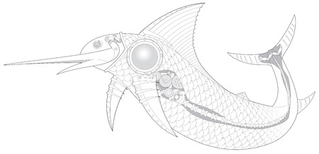 sailfish: Steampunk Sailfish mechanical fish 3 vector