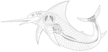 sailfish: Steampunk pesce meccanico Sailfish con subacqueo vettore Vettoriali