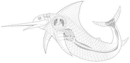 engeneering: Steampunk Sailfish mechanical fish with diver vector