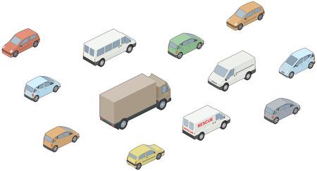 beelden van isometrische, 3D auto's, vrachtwagens, auto's, bestelwagens etc Stock Illustratie