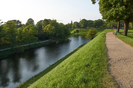 Park and water around Kastellet in copenhagen