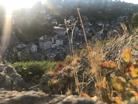 high angle view on Monschau from surrounding mountains