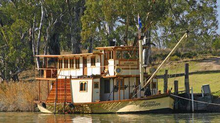 Murrat River, South Australia, June 6th 2007: The historic paddle steamer Arkuna Amphibious moored near Wakerie in South Australia.