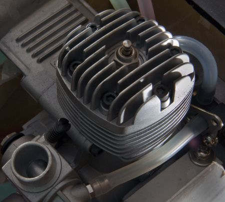 two stroke: Close up of model aircraft glo engine cylinder head Stock Photo