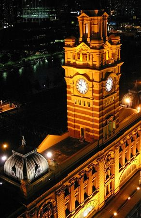 Portrait night time view of Victorian clock tower taken from above at 10 PM Stock Photo