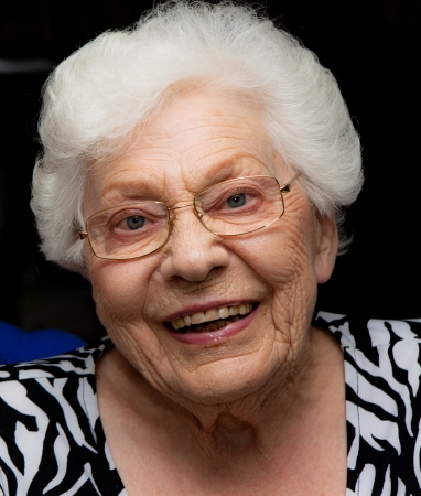 Facial shot of a grandmother with interestingly wrinkled face