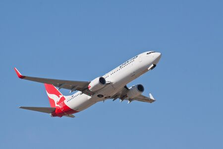 Qantas Boeing 737-800 VH-VZX taking off from Perth Airport on the 15th April 2012, enroute toQantas is Australia
