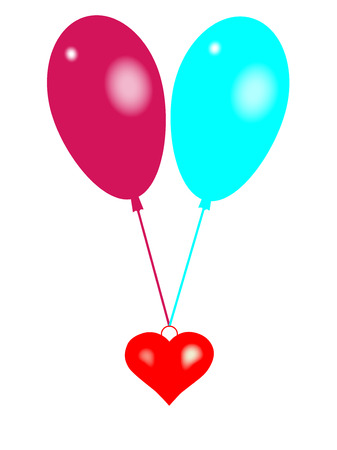 a heart wings hanging from two balloons