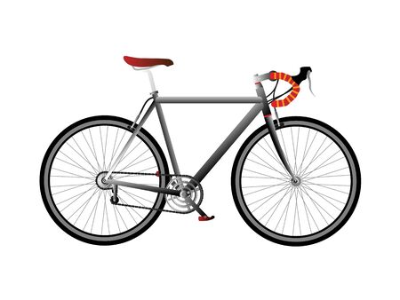 racing bike gray and red isolated on white background