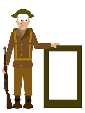 gi: American soldier with m 1917 helmet shows a signs Illustration