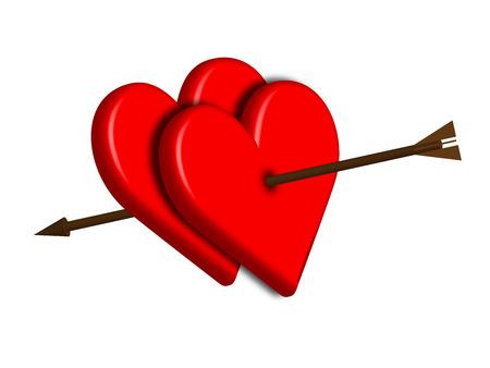 pierced: two hearts pierced by an arrow