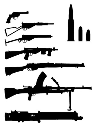 various British arms of the second world war with ammo Vectores