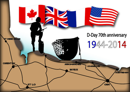 world war two: map of landing beaches in Normandy with soldier and helmet