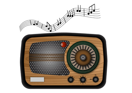 vintage radio with some music notes Vector
