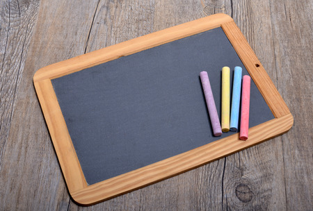 teaching material: slate with chalks