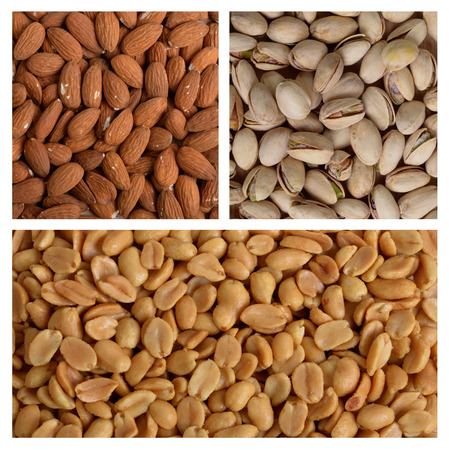 peanuts, almonds and pistachios on a white background Banque d'images