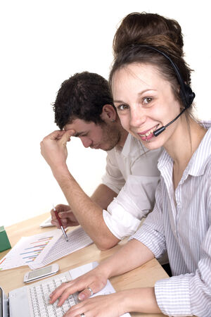a man and a woman working in customer service with smile photo