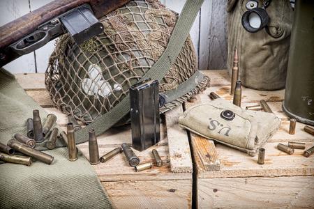 different U S  military equipment of World War II Foto de archivo