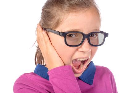 little girl an earache on white background photo