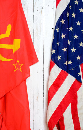 soviet flag: American and Soviet flag on a wall