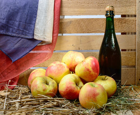 tagged: bottle of cider apples in the straw with French flag