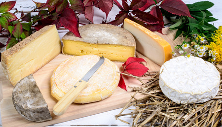 mountain goat: different french cheeses produced in the Alps mountains Stock Photo