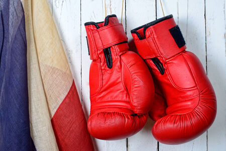 red boxing gloves with a french flag photo