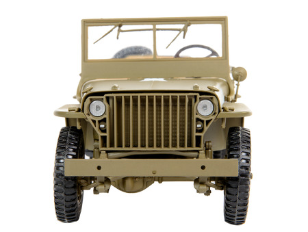 green plastic soldiers: military vehicle toy on the white background Stock Photo