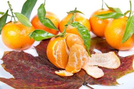 sain: tangerine isolated on a white background Stock Photo