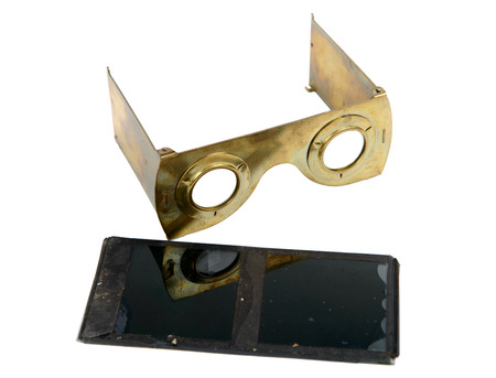 stereoscope: stereoscope in brass with glass plates on the white background Stock Photo